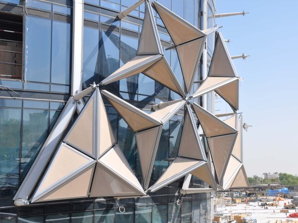 Virginia Duran Blog- Unusual Facades- Al Bahar Towers Origami Architecture Detail