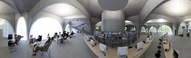 Virginia Duran Blog- Amazing Libraries-Tama Art University Library by Toyo Ito Panorama