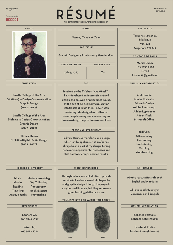 Virginia Duran Blog- Creative Portfolios and Resumes- Yu Xuan  Stanley Cheah