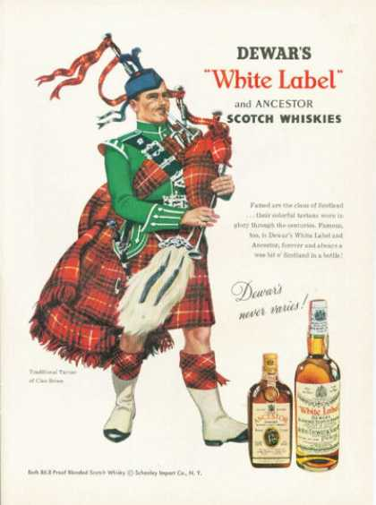 Virginia Duran Blog- Beautiful Print Ads from the Mad Men Period- Dewar's White Label Scotch Ad Bruce Clan Bag Pipes (1959)