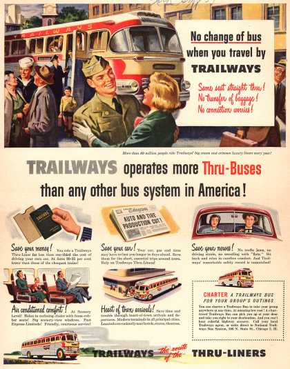 Virginia Duran Blog- Beautiful Print Ads from the Mad Men Period- National Trailways Bus System 1951