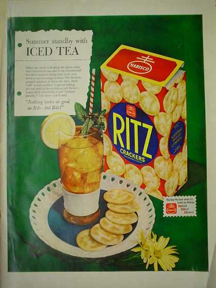 Virginia Duran Blog- Beautiful Print Ads from the Mad Men Period- Ritz Crackers AND Pabst Beer Johnny Weissmuller (1950)