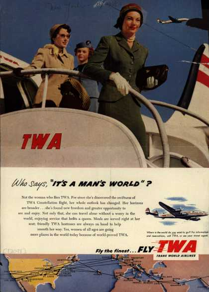 Virginia Duran Blog- Beautiful Print Ads from the Mad Men Period- Trans World Airline's TWA Constellation (1953)