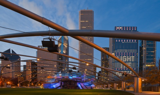 Virginia Duran Blog- Chicago Best Buildings for Architects - Jay Pritzker Pavilion by Frank Gehry Skyline Views