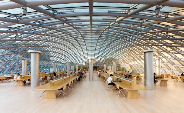 Virginia Duran Blog- Chicago Best Buildings for Architects - Joe and Rika Mansueto Library by Helmut Jahn Interior