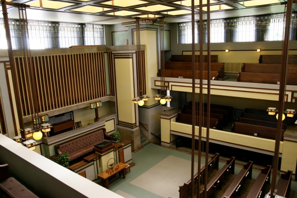 Virginia Duran Blog- Chicago Best Buildings for Architects - Unity Temple by Frank Lloyd Wright Interior