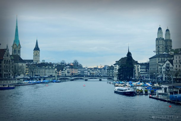 Virginia Duran Blog- 5 Skyline Photographs of Zurich- St Peterskirche - Fraumunster- Gossmunster- Limmat River