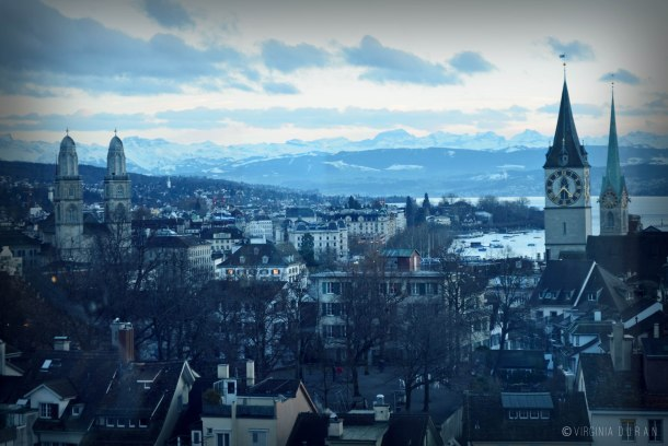 Virginia Duran Blog- 5 Skyline Photographs of Zurich- St Peterskirche - Fraumunster- Gossmunster