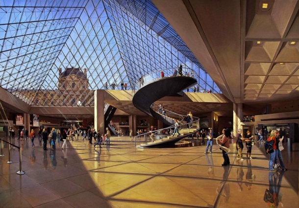 Virginia Duran Blog-Buildings in Paris if you Love Architecture- Le Grand Louve-IM Pei-interior