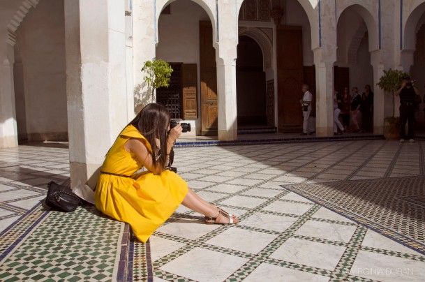 Virginia Duran- Marrakech Top Architecture-Bahia Palace-Yellow Dress