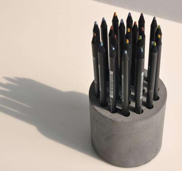 Virginia Duran Blog- 12 Cool Concrete and Cement DIY Designs- Pen Holder