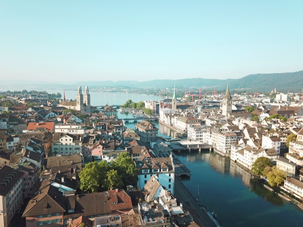 Zürich Lake aerial view with drone