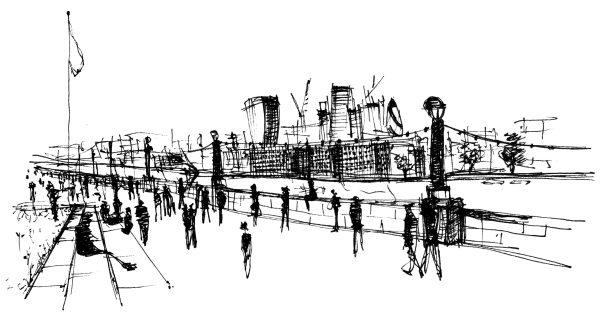 London Riverfront Sketch
